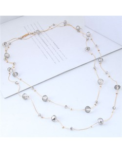 Crystal Beads Decorated Dual Layers Long Fashion Women Statement Necklace - Gray