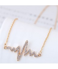 Glistening Cubic Zirconia Cardiogram Pendant Unique Fashion Necklace - Golden