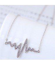 Glistening Cubic Zirconia Cardiogram Pendant Unique Fashion Necklace - Silver