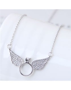 Cubic Zirconia Inlaid Angel Wings Design Korean Fashion Costume Necklace - Silver