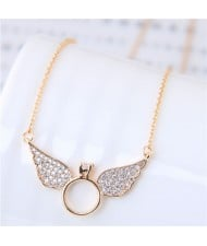Cubic Zirconia Inlaid Angel Wings Design Korean Fashion Costume Necklace - Golden