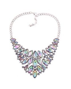 Oval Rhinestones Inlaid Chunky Style Shining Fashion Women Costume Necklace - Silver