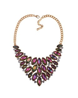 Oval Rhinestones Inlaid Chunky Style Shining Fashion Women Costume Necklace - Golden