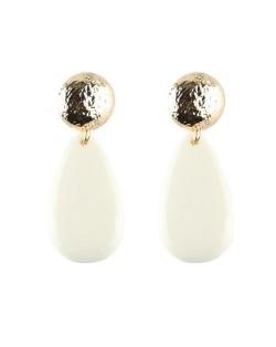 Acrylic Gem Dangling Waterdrop Coarse Button Design Fashion Earrings - White