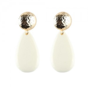 Acrylic Gem Dangling Waterdrop Coarse Button Design Fashion Earrings - White