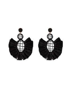 Hollow Weaving Hoops with Tassels Design Pastorale Fashion Women Statement Earrings - Black