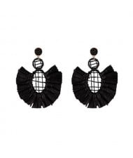 Hollow Weaving Hoops with Tassels Design Pastorale Fashion Women Statement Earrings - Black