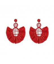 Hollow Weaving Hoops with Tassels Design Pastorale Fashion Women Statement Earrings - Red
