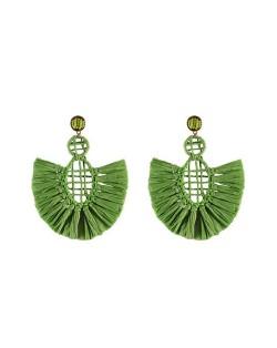 Hollow Weaving Hoops with Tassels Design Pastorale Fashion Women Statement Earrings - Green