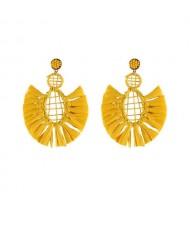 Hollow Weaving Hoops with Tassels Design Pastorale Fashion Women Statement Earrings - Yellow