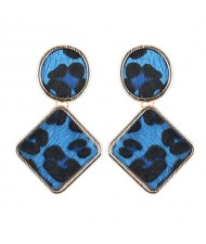 Leopard Prints Oval and Square Combo Design High Fashion Statement Earrings - Blue