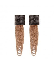 Dangling Tassel Chains Shining Square Fashion Statement Earrings - Black