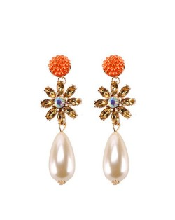 Rhinstone Flower Pearl Fashion Women Statement Earrings - Orange