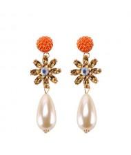 Rhinstone Flower Pearl Fashion Women Statement Earrings - Orange