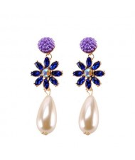 Rhinstone Flower Pearl Fashion Women Statement Earrings - Purple