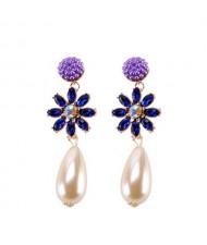 Rhinstone Flower Pearl Fashion Women Statement Earrings - Purple