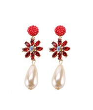 Rhinstone Flower Pearl Fashion Women Statement Earrings - Red