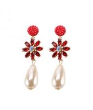 Rhinstone Flower Pearl Fashion Women Statement Earrings - Red