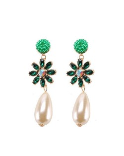 Rhinstone Flower Pearl Fashion Women Statement Earrings - Green