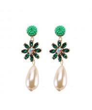 Rhinstone Flower Pearl Fashion Women Statement Earrings - Green
