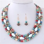 Mixed Colors Beads Multiple Layers Shining High Fashion Costume Necklace and Earrings Set