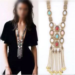 Artificial Turquoise Embellished with Tassel Chains Design Chunky Fashion Statement Necklace - Golden
