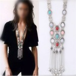 Artificial Turquoise Embellished with Tassel Chains Design Chunky Fashion Statement Necklace - Silver