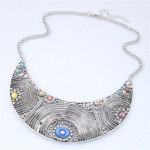 Rhinestone and Colorful Gems Embellished Hollow Style Chunky Arch Pendant Fashion Necklace