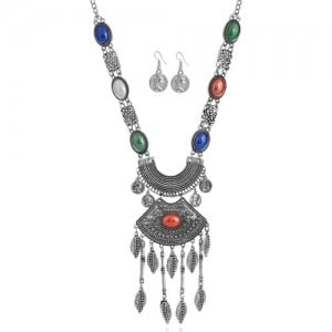 Multicolor Gems Embellished Vintage Coins Fashion Arch Pendant Chunky Statement Necklace and Earrings Set