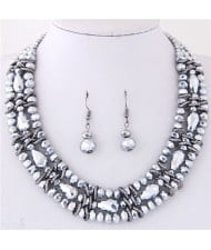 Triple Layers Crystal Beads Weaving Style Alloy Costume Necklace and Earrings Set - Silver