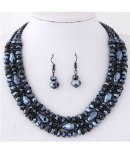 Triple Layers Crystal Beads Weaving Style Alloy Costume Necklace and Earrings Set - Ink Blue