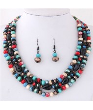 Triple Layers Crystal Beads Weaving Style Alloy Costume Necklace and Earrings Set - Multicolor