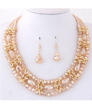 Triple Layers Crystal Beads Weaving Style Alloy Costume Necklace and Earrings Set - Champagne