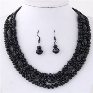 Triple Layers Crystal Beads Weaving Style Alloy Costume Necklace and Earrings Set - Black