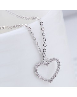 Cubic Zirconia Embellished Graceful Heart Pendant Korean Fashion Necklace