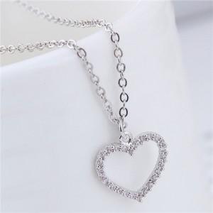 Cubic Zirconia Embellished Graceful Heart Pendant Korean Fashion Necklace