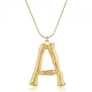 Punk High Fashion Alphabets Golden Alloy Costume Necklace - A