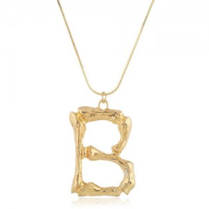 Punk High Fashion Alphabets Golden Alloy Costume Necklace - B
