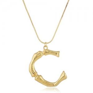 Punk High Fashion Alphabets Golden Alloy Costume Necklace - C
