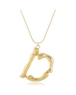 Punk High Fashion Alphabets Golden Alloy Costume Necklace - D