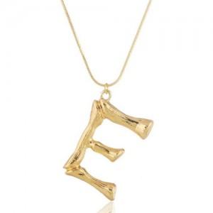 Punk High Fashion Alphabets Golden Alloy Costume Necklace - E