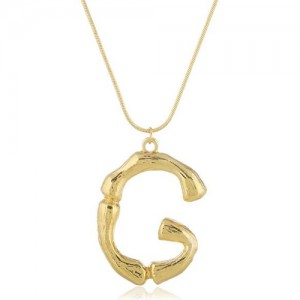 Punk High Fashion Alphabets Golden Alloy Costume Necklace - G