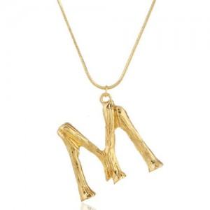 Punk High Fashion Alphabets Golden Alloy Costume Necklace - M