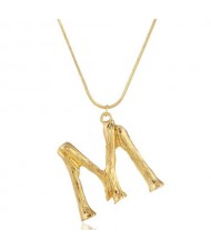 Punk High Fashion Alphabets Golden Alloy Costume Necklace - M
