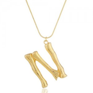 Punk High Fashion Alphabets Golden Alloy Costume Necklace - N