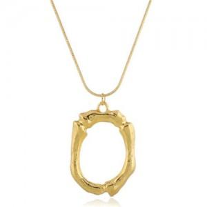 Punk High Fashion Alphabets Golden Alloy Costume Necklace - O