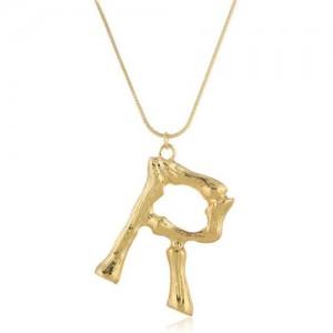Punk High Fashion Alphabets Golden Alloy Costume Necklace - R