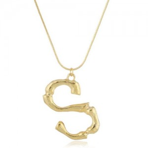 Punk High Fashion Alphabets Golden Alloy Costume Necklace - S