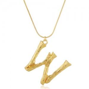 Punk High Fashion Alphabets Golden Alloy Costume Necklace - W