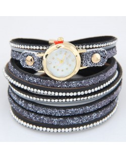 Shining Beads Embellished Multi-layers High Fashion Wrist Watch - Black